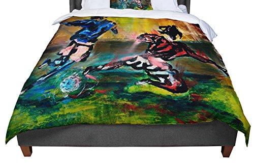 KESS InHouse Josh Serafin ''Slidetackle'' Soccer Queen Comforter, 88'' X 88'' by Kess InHouse
