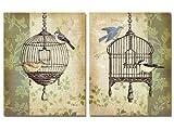 wallsthatspeak 2 Botanical Birdcage Floral Collage Bird Home Decor Art Prints, 11 by 14-Inch, Beige/Green