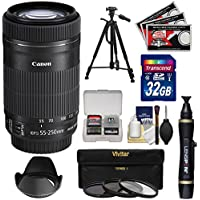Canon EF-S 55-250mm f/4.0-5.6 IS STM Zoom Lens with 32GB Card + 3 UV/CPL/ND8 Filters + Tripod + Kit for EOS 70D, Rebel T3, T3i, T4i, T5, T5i, SL1 DSLR Cameras