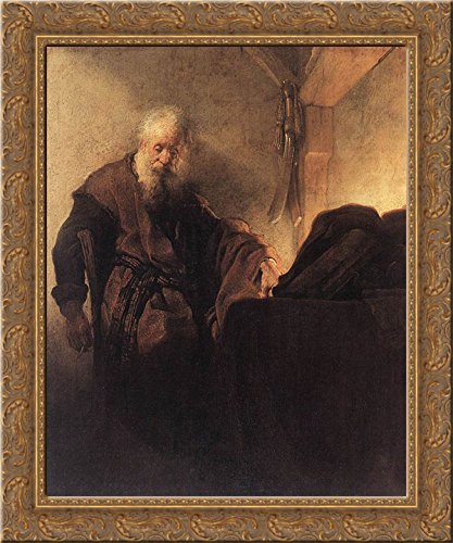 St. Paul at his Writing Desk 20x20 Gold Ornate Wood Framed Canvas Art by Rembrandt