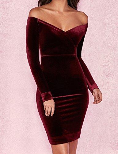 Lunghe Whoinshop Maniche Vestito Fasciante Wine Donna aHnq1aOW
