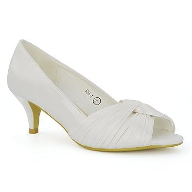 ESSEX GLAM Womens Bridal Kitten Low Heel Satin Evening Ladies Prom Wedding Peep Toe Shoes