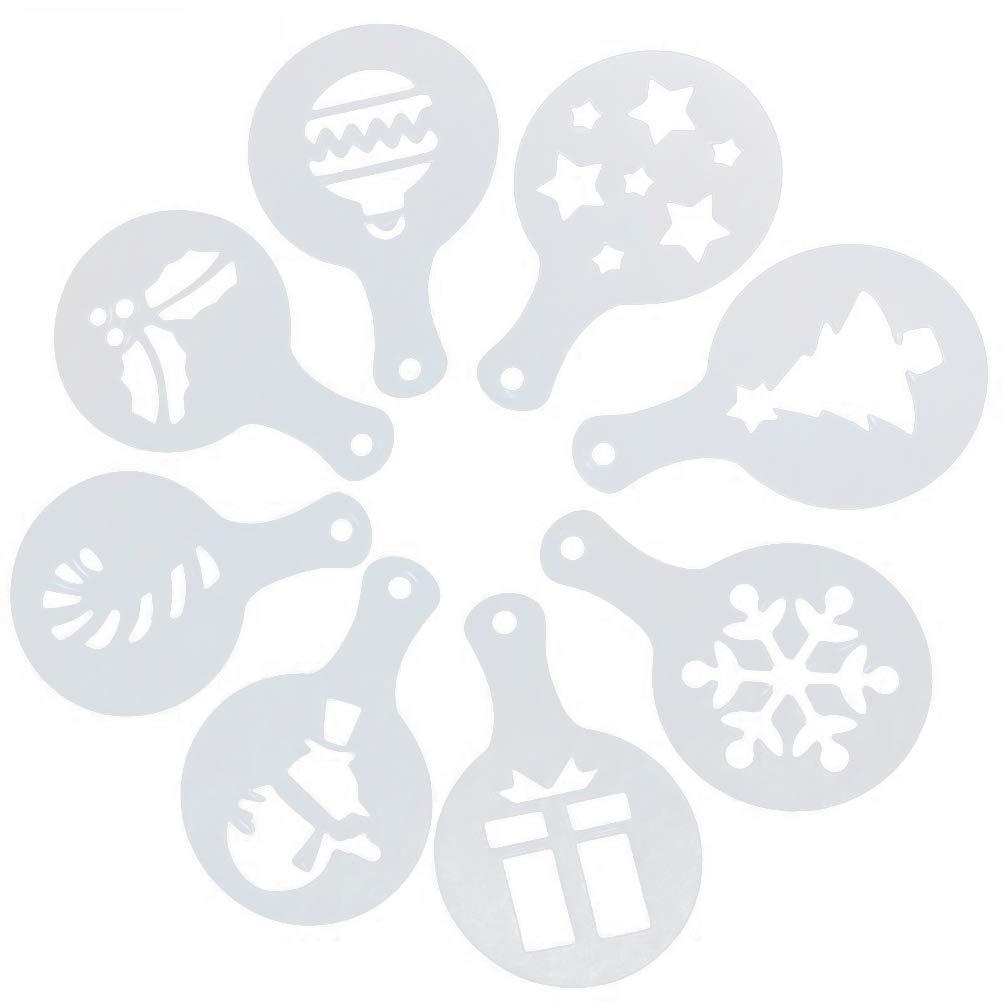 plantilla para la decoraci/ón del caf/é de pl/ástico para uso alimentario bestonzon moldes para galletas de navidad de 8/piezas