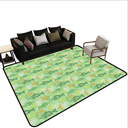 (Custom Pattern Floor mat,Hand Drawn Basses Starfishes and Auger Seashell on Green Background Underwater Theme 6'6