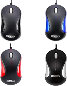 USB Mouse 2 Pack for Laptop Computer Mouse Designed Ergonomic Optical Wired Mice for Office and Home use Compatible with Computer Laptop PC Desktop Windows 7/8/10/XP Vista and Mac Red Color by SOONGO