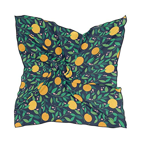 Women's Soft Polyester Silk Square Scarf Lemon And Orange Clementine Twig Fruits Delicious Winter Vitamin Design Fashion Print Head & Hair Scarf Neckerchief Accessory-23.6x23.6 ()