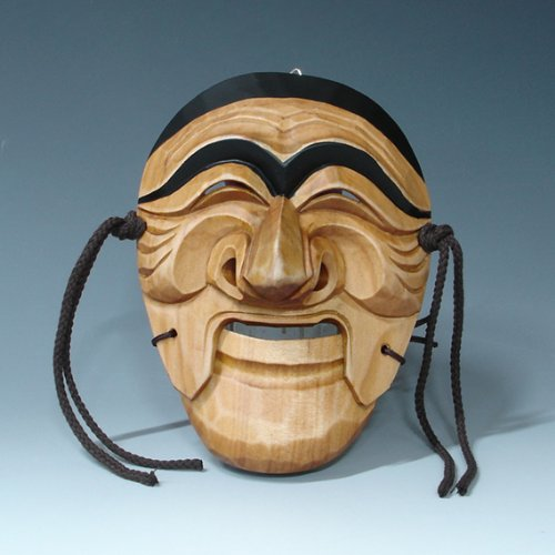 Hand Carved Korean Hahoe Man Dance Smile Wooden Wall Decor Plaque Art Decorative Hanging Asian Mask ()