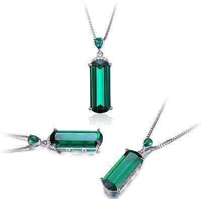 Silver Green Russian emerald pendant /& chain created diamond necklace