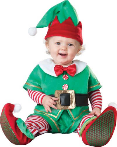InCharacter Costumes Baby's Santa's Lil' Elf Costume, Green/Red, Large (18 to 2T)]()