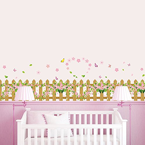 Amaom Removable Beautiful Flowers Fence Butterfly Wall Decals Murals DIY Home Art Decor Peel Stick Wall Stickers for Wall Corner Kids Room Bedroom Living Room Decorations