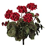 Pack of 3 Romatic Red & Dark Green Fully Blooming Artificial Geranium Bushes 18""