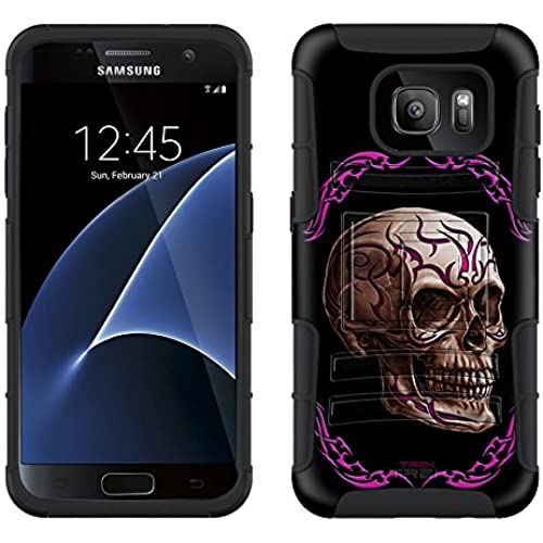 Samsung Galaxy S7 Armor Hybrid Case Pink Tattoo Skull on Black 2 Piece Case with Holster for Samsung Galaxy S7 Sales