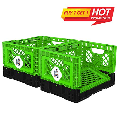 BIGANT Heavy Duty Collapsible & Stackable Plastic Milk Crate - IP403026, 26 Quarts, Small Size, Green, Set of 2, Snap Lock Foldable Industrial Garage Storage Bin Container Utility Basket ()