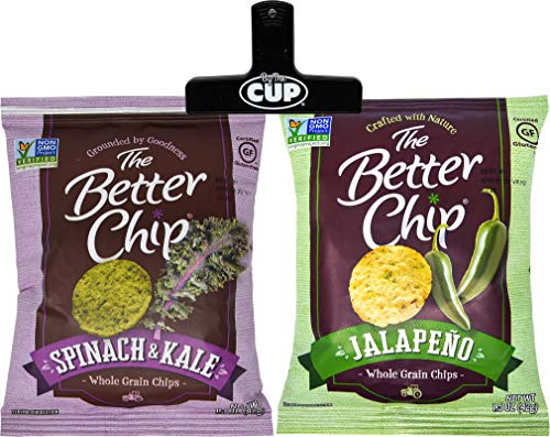 The Better Chip 18 Bag Variety, 9 of Each Jalapeno Flavored and Spinach & Kale Flavored Whole Grain Corn Masa Chips, with By The Cup Chip Clip (Best Whole Grain Chips)