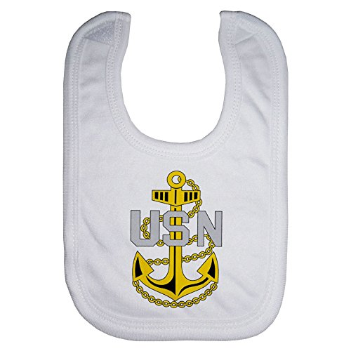 Microfiber Baby Bib - US Navy Chief Petty Officer, rank ins (collar device)