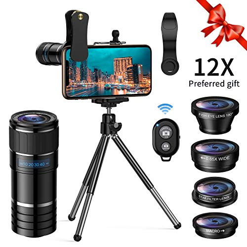 Phone Camera Lens Kit,5 in 1 Cell Phone Lens with Tripod  Shutter Remote,Star Filter Lens+12x Telephoto Lens+0.65x Wide Angle  Macro+Fisheye,Clip-On Lenses for iPhone,Smartphones/Tablet