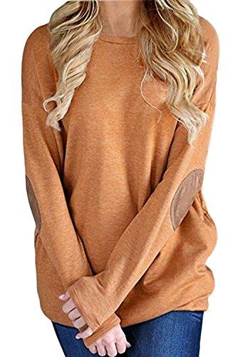 BLUETIME Women's Casual Loose Elbow Patch Long Sleeve Tunic Tops Blouse Sweatshirt (Khaki, M)
