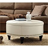 Cheap Pemberly Row Storage Leather Ottoman in Cream
