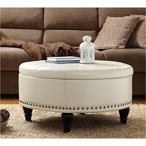 Pemberly Row Storage Leather Ottoman in Cream