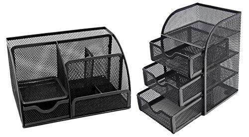 EasyPAG Mesh Desk Organizer Set -Desk Supply Caddy and 3 Drawer Mini Hutch Organizer Storage - Black