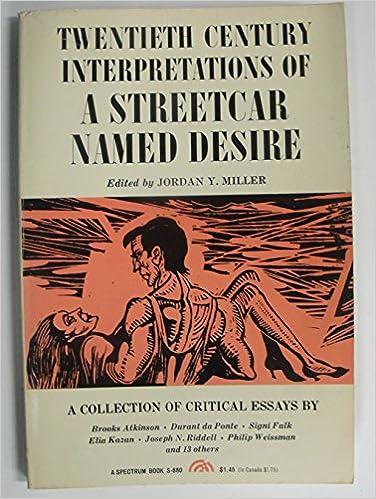 Williams Streetcar Named Desire A Collection Of Critical Essays  Williams Streetcar Named Desire A Collection Of Critical Essays Th  Century Interpretations Jordan Yale Miller  Amazoncom  Books