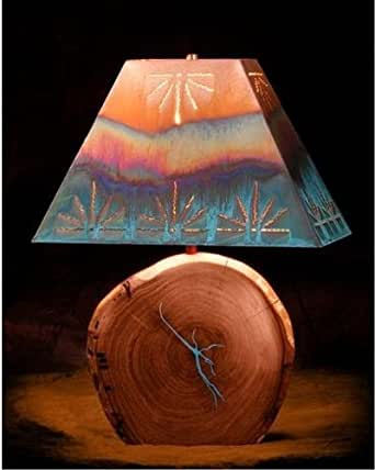 Mesquite Lamp With Copper Shade Turquoise Inlay 18