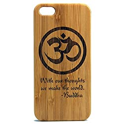 OM Buddha Quote iPhone 6 Case. With our Thoughts We Make the World Eco-Friendly Bamboo Wood Cover Skin. Buddhist Symbol Mediation