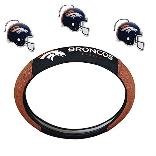 NFL Fan Shop Auto Bundle. Premium Pigskin Leather Accented Steering Wheel Cover with Embroidered Team Name and Logo along with a 3-Pack of Team Helmet Air Fresheners (Denver Broncos)