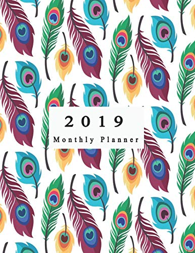 2019 Monthly Planner: Schedule Organizer Beautiful Peacock feather pattern collection with flat design Cover Monthly and Weekly Calendar To do List Top goal and Focus (Planner 2019)