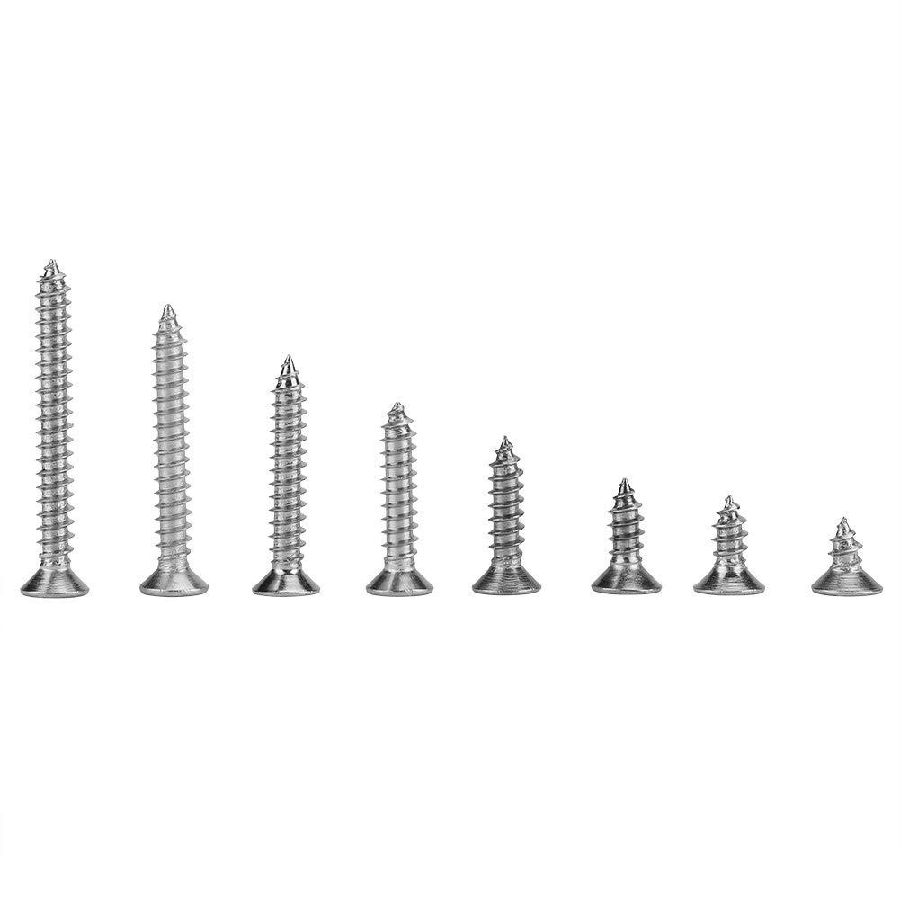 200Pcs M4 Vis Autotaraudeuses en Acier Inoxydable Vis Autotaraudeuses /à T/ête Plate /à Entra/înement Crois/é M4 x 8//10//12//16//20//25//30//35mm