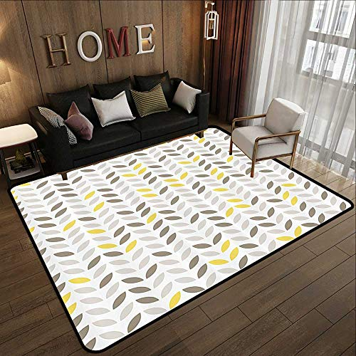 (Rugs for Sale,Geometric Decor Collection,Stylized Fish with Abstract Patterns Techno Urban Trend Creative Design,Grey Yellow 47