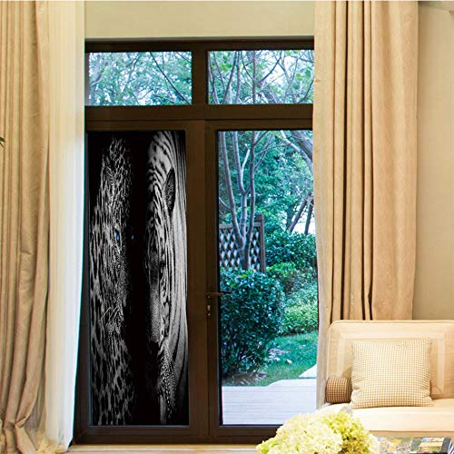 YOLIYANA Decorative Window Film,Black and White Decorations,for Bedroom Living Room Kitchen,Leopards Blue Eyes Aggressive Powerful Wildcat Profile,24