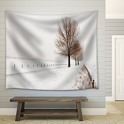 Row of Large and Bare Trees It is Very Early in the Morning and It Freezes Very Much in the Netherlands Fabric Wall Tapestry