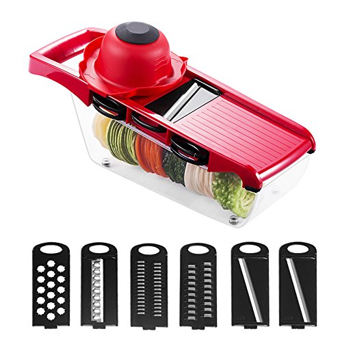 DDSKY Adjustable Vegetable Slicer Cutter Multi Mandoline Grater with 6 Stainless Steel Blades and Safe Hand Guard, Perfect Fruit Cheese Onion Chopper Dicer Kitchen Tool