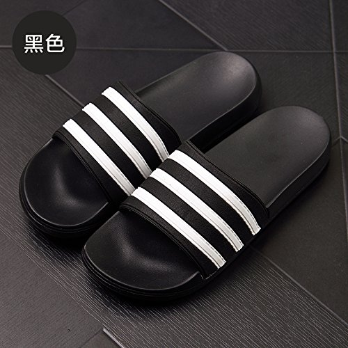 cool home strisce estate di coppie moda una pantofole bagno pantofole di da dispongono antiscivolo Le pantofole uomini DogHaccd bagno vasca da stanze camera Nero43 stay TcZRUB7a
