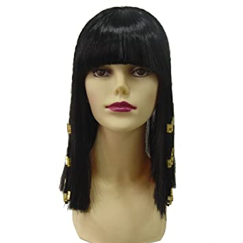 Egypt Queen Peluca Cosplay Larga Trenza De Pelo Egipto Reina Cleopatra Peinado Flequillo Limpias Sintético Negro