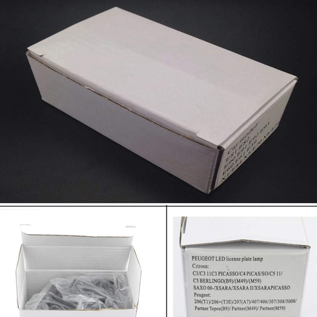 ELENXS 1 Paire 12V LED Plaque dimmatriculation Lumi/ère de Remplacement pour Voiture C3-C5 206//207//307//308//406//407