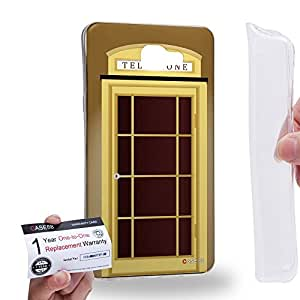 Case88 [Samsung Galaxy A9 (2016)] Gel TPU Carcasa/Funda & Tarjeta de garantía - Art Design Brown Telephone Box Art1705