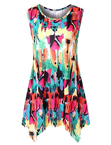 SleevelessShirtsforWomen,Cucuchy Bohemian Tops Maternity Flowy Print Tank Boho Casual Loose Fit Paisley T-Shirts Curvy Irregular Hem Plus Size Modern Cute Paisley Asymmetrical Blouses Rainbow 2XL