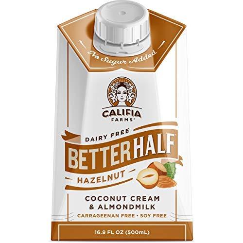 Califia Farms Hazelnut Better Half Coffee Creamer, 16.9 Oz (Pack of 6), Coconut Cream and Almondmilk, Half & Half, Dairy Free, Plant Milk, Vegan, Non-GMO