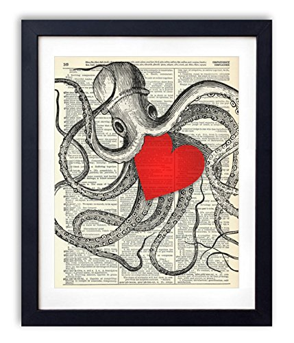 Red Heart Wall (Octopus With Big Red Heart Vintage Upcycled Dictionary Art Print - 8x10 inches)
