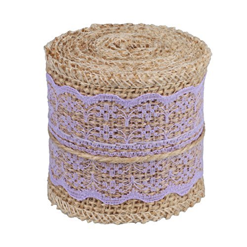vLoveLife Natural Burlap Craft Ribbon Roll with Lavender Lace DIY Handmade Christmas Wedding Crafts Lace Linen - 2.4