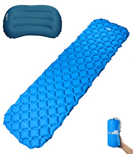 Ultralight Sleeping Pad with Innovation Buckle Design Built-in Pillow Inflatable Camping Pad Mat Long-lasting Waterproof Suitable for Camp Sleeping Bag Hammock Tent Perfect for Camping Picnic