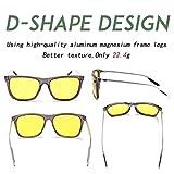 HD Night Vision Polarized Sunglasses Square Yellow Lens Aluminum Magnesium Temple Spring Hinges Driving Sun Glasses Men Women Classic Retro Wayfarer Glasses (Night Vision Lens/Trans Grey Frame, 57)