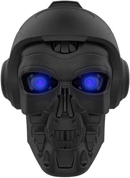 LED Skull Head Shape Speakers, DORNLAT Portable Wireless Bluetooth Speaker with Mic, Cool Creative Art Design Super Bass Stereo Speaker for Halloween, Party, Travel, Outdoor, Home Decor