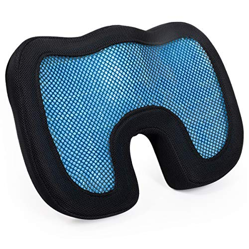 (TanYoo Summer Cooling Gel Seat Cushion Mesh Seat Cushion for Car/Wheelchair/Office/Airplane Chair and Anti-Slip Bottom Black (18x15 Inch, 1)