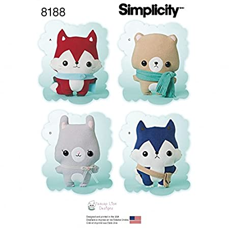 Simplicity Crafts Easy Sewing Pattern 8188 Stuffed Fox, Wolf, Bear ...