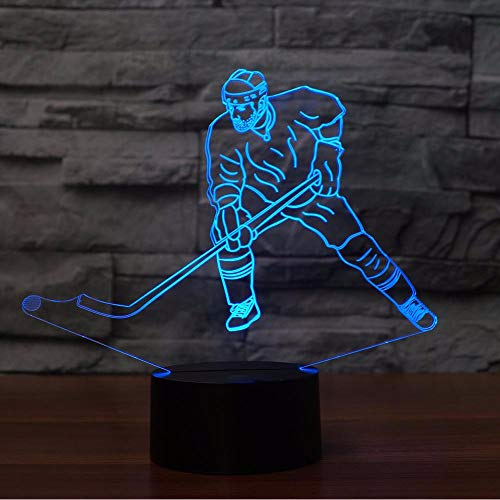 Lifme Led Ice Hockey Man in Action Modelling Night Light USB 3D Table Lamp Bedroom Luminary Decor Bedside Sleep Light Fixture Kid Gift