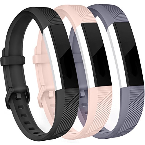 Amzpas for Fitbit Alta HR and Alta Bands, 3 Pack, Small Large Adjustable Replacement Band Wristbands for Fitbit Alta and Alta HR (buckle: Black & Blush pink & Gray, ()