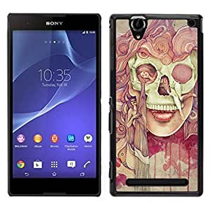 Sony Xperia T2 Ultra Único Patrón Plástico Duro Fundas Cover Cubre Hard Case Cover - Deep Dark Goth Lady Painting Meaning